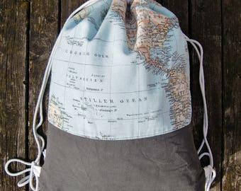 gym bag - backpack - world map