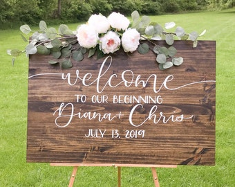 Wedding Welcome Sign | welcome to our beginning wedding sign, custom wood welcome sign, welcome wedding sign, personalized ceremony sign