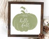 New fall design hello fall sign, fall decor, autumn decor, pumpkin sign, green fall sign, framed sign
