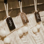 Wood stocking tags | handlettered stained tags, customized name tags, stocking tags, stocking names