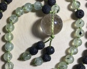 Prehnite, Lava Stone, Quartz, Silk Cord - Hand Knotted Genuine Crystal Mala, Prayer Beads, Necklace, Yoga, Meditation - 108 beads