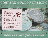 Where should I go to find financial success? Compass Tarot Reading (digital file: PDF, JPG - you print)
