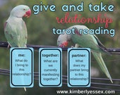 Give & Take 3-card Relationship Tarot Reading (digital file: PDF, JPG - you print)