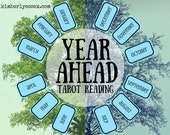 Year Ahead 12-card Tarot Reading (digital file: PDF, JPG - you print)