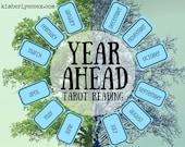 Year Ahead 12-card Tarot Reading (digital file: PDF, JPG - you print)