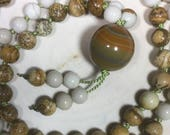 Picture Jasper, Riverstone, Agate, Silk Cord - Hand-Knotted Genuine Crystal Mala, Prayer Beads, Necklace, Yoga, Meditation - 108 beads