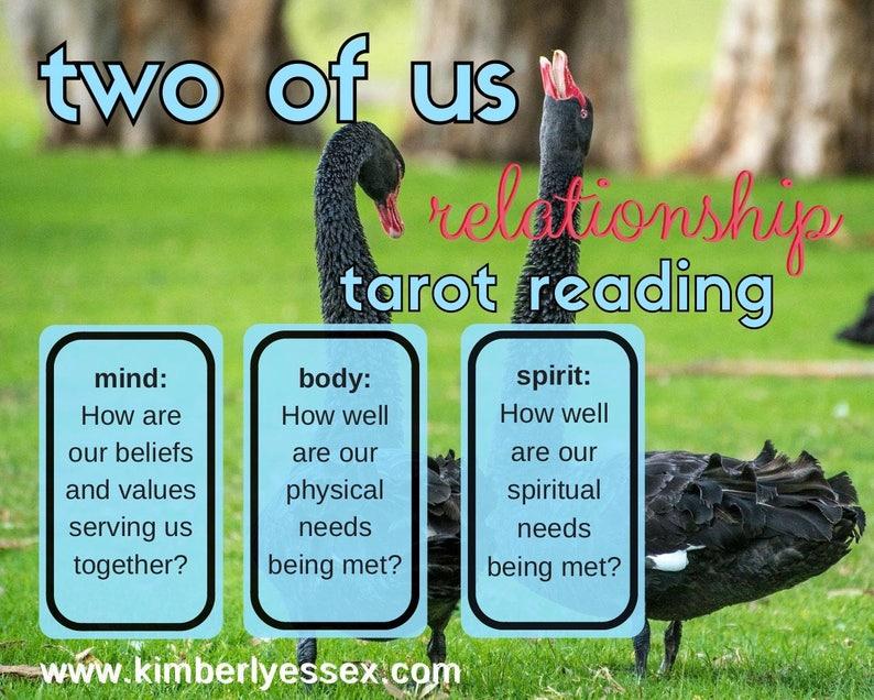 Two of Us 3-card Relationship mind/body/spirit Tarot Reading image 1