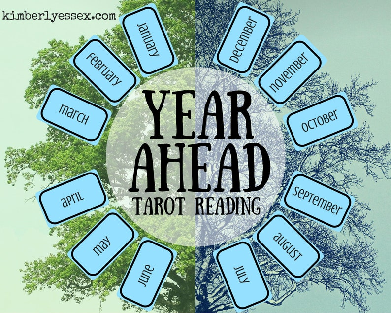 Year Ahead 12-card Tarot Reading digital file: PDF JPG  you image 0
