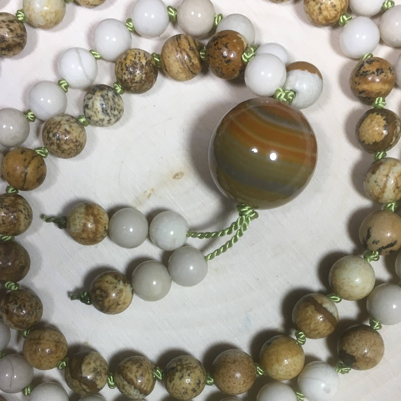 Picture Jasper Riverstone Agate Silk Cord  Hand-Knotted image 0