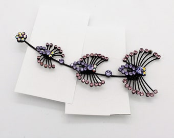 Pink and Lavender Rhinestone Butterflies Comb