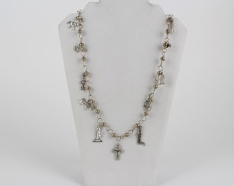 Milagros Charm Guatemalan Wedding Necklace Silver Beads
