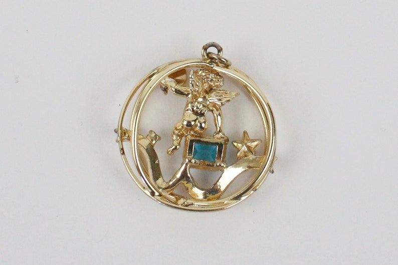 Vintage Coro Birthstone Cherub 3D Charm with Necklace Chain and Bracelet December
