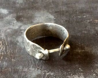 MADE TO ORDER Reticulated corset ring,primitive sterling silver corset ring,single corset ring,molten corset ring,melted corset ring,worn