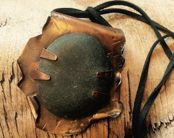 FLASH SALE!! Large wrecked copper river Rock pendant,primitive pendant,river Rock pendant,river Rock necklace,primitive necklace,brutalist