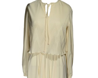 Vintage Amy-Deb Cream Colored Dress Pleated