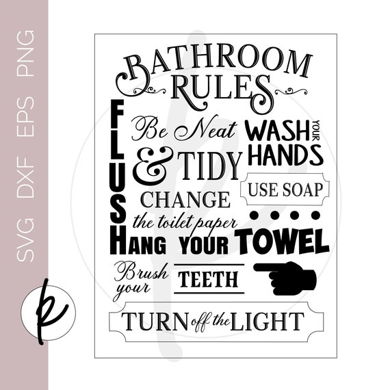 Vintage Bathroom Signs Bathroom Rules Sign Bathroom Wall Etsy