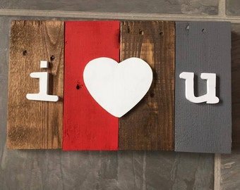 I Love You Heart Decorative Wooden Wall Decor Sign