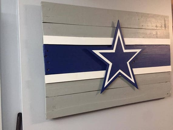 Large Dallas Cowboys Rustic Wood Hand Painted Decorative Wall Decor Sign