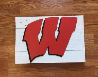 University of Wisconsin Madison UW Wooden Wall Decor Sign Badgers