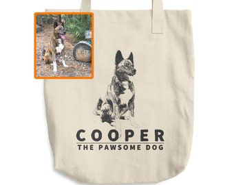 661aa5a00d2 PERSONALIZED Dog Tote Bag | Custom Pet Cotton Shopping Bag | Unique Gift |  Photo Picture Name