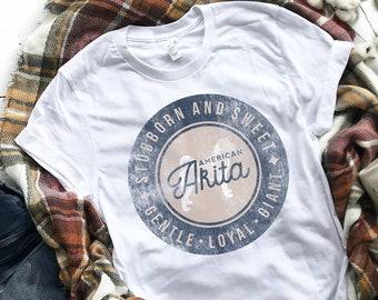 76451fdf7 AMERICAN AKITA Logo Unisex T-Shirt   Vintage Style   Stubborn and Sweet    Gentle Loyal Giant   Cool Dog Gift   Unique Design   Men Women
