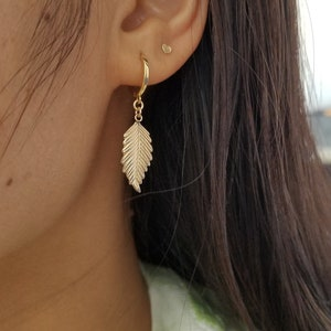 14k yellow gold leaf earringsBeautiful gold dangle earringsLeaf earringsCute earrings