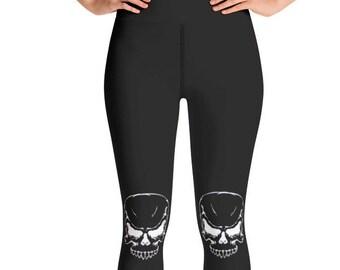 9f9eae2a1e8011 Skull yoga leggings, black skull leggings, goth leggings, black skull gym  pants, gym clothes, skeleton