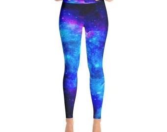 01e8a76248 Blue Galaxy Leggings, womens leggings, Yoga Leggings, girls leggings,  galaxy leggings, nebula leggings, space leggings