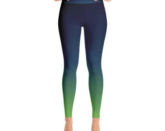 0697ff76fc Dark blue and green Yoga Leggings, football fan leggings, womens leggings,  12th man, seahawks leggings