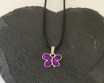 Purple butterfly necklace / butterfly jewellery / animal necklace / animal jewellery / animal lover gift