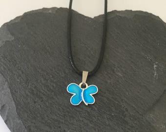 Blue butterfly necklace / butterfly jewellery / animal necklace / animal jewellery / animal lover gift
