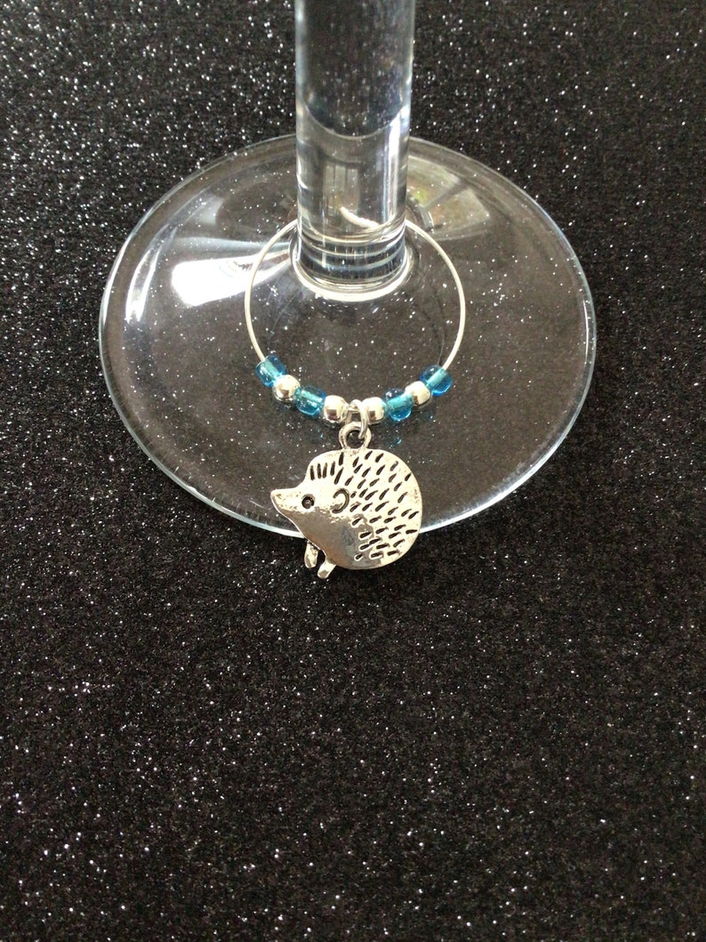 Hedgehog wine glass charm  animal wine glass charms  wine charms  wine glass decor  animal lover gift  wine lover gift