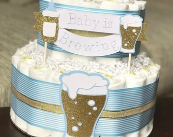 Baby is Brewing Diaper Cake, Bottles and Beer Brew Baby Shower Centerpiece Decor, BabyQ BBQ Co-Ed Baby Shower Blue Gold Boy Neutral, 3 Tier