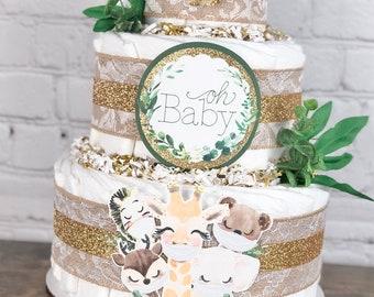 Safari Animal Diaper Cake, Baby Shower Centerpiece Decor Gift, Gender Neutral Drive By Virtual Shower Giraffe Elephant Zebra Masks, 3 tier