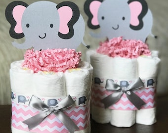 Pink and Gray Elephant Diaper Cake, Baby Shower Gift, Baby Shower Centerpiece Decor, One Mini Girl Pink Gray Elephant Animal, 1 Tier