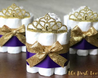 royal purple princess diaper cake baby shower decor centerpiece present little princess purple and gold tiara crown girl one mini 1 tier
