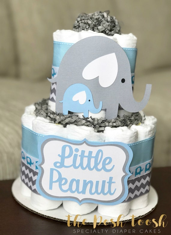 Blue And Gray Baby Elephant Diaper Cake Baby Shower Etsy