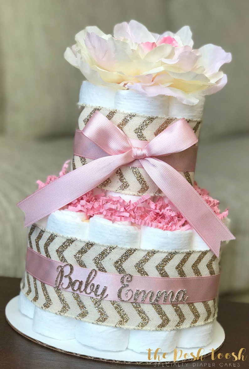 Pink Gold Diaper Cake Baby Shower Centerpiece Decor Baby Etsy