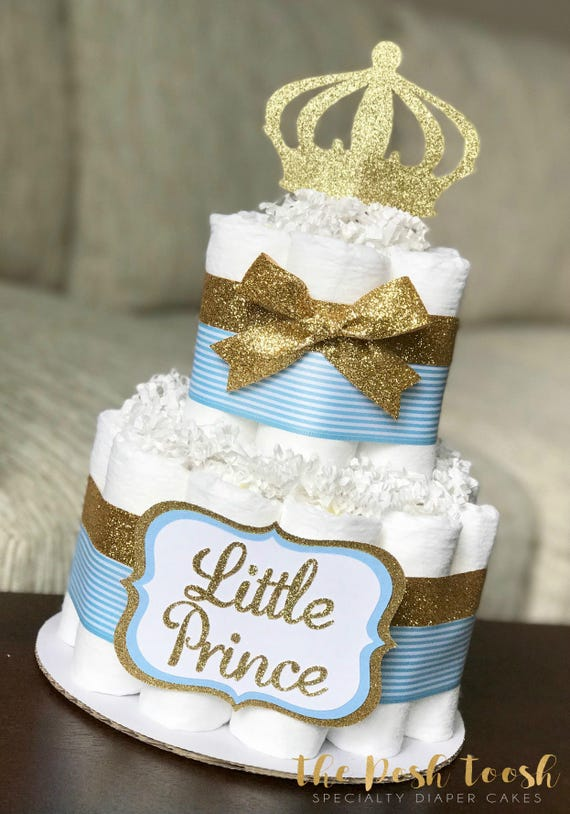 Prince Diaper Cake Boy Baby Blue Gold Royal Crown Baby Etsy