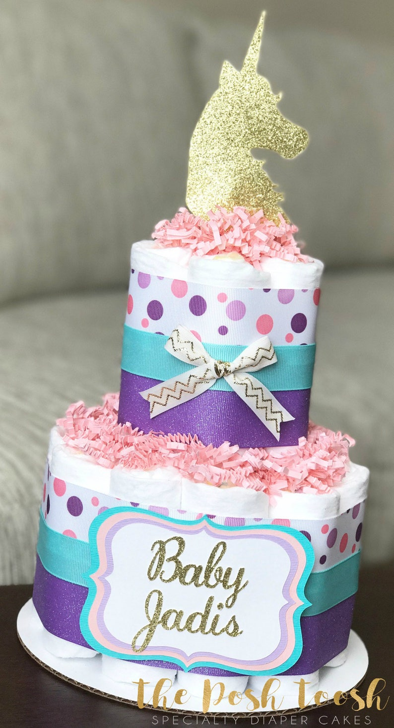 Unicorn Diaper Cake Baby Shower Centerpiece Decor Gift Pink Etsy