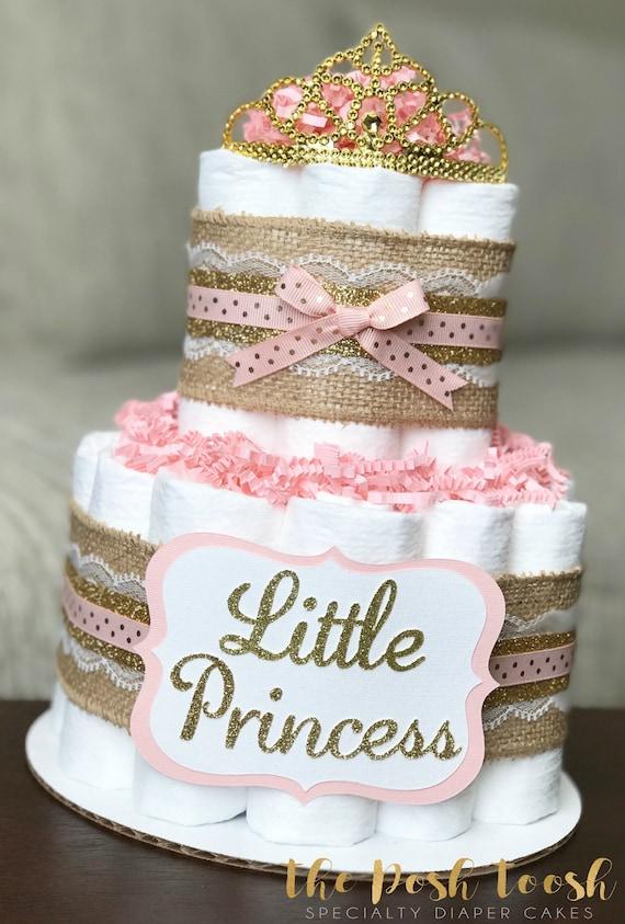 Shabby Chic Princess Diaper Cake Baby Shower Centerpiece Etsy
