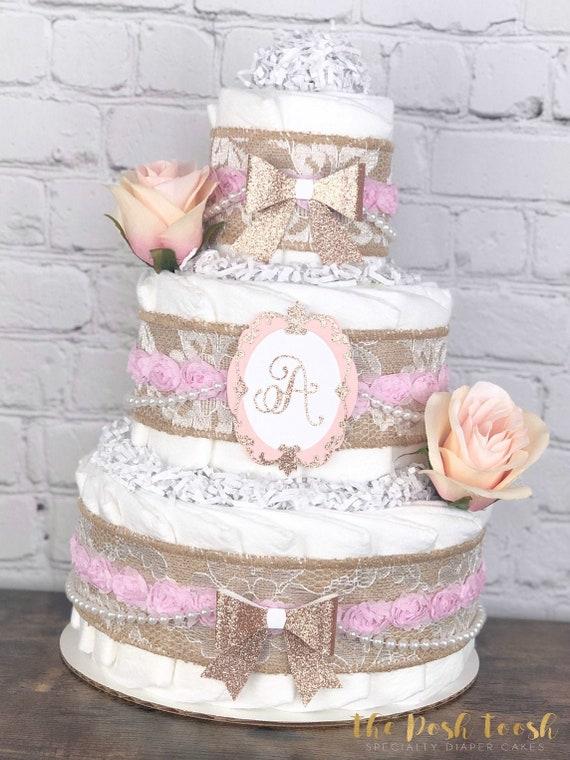 3 Tier Diaper Cake Shabby Chic Diaper Cake Blush Pink Diaper Cake  Sweet Baby Diaper Cake  Vintage Burlap Diaper Cake  Flower Cake