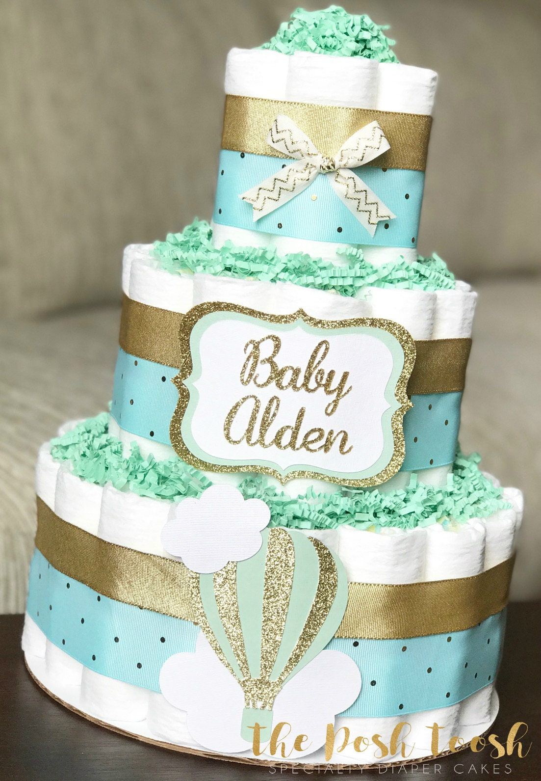 mint hot air balloon diaper cake boy gender neutral up up and etsy. Black Bedroom Furniture Sets. Home Design Ideas