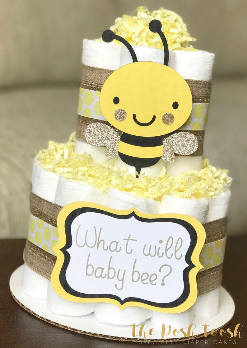 Bumble Bee Diaper Cake Baby Shower Centerpiece Baby Shower Etsy