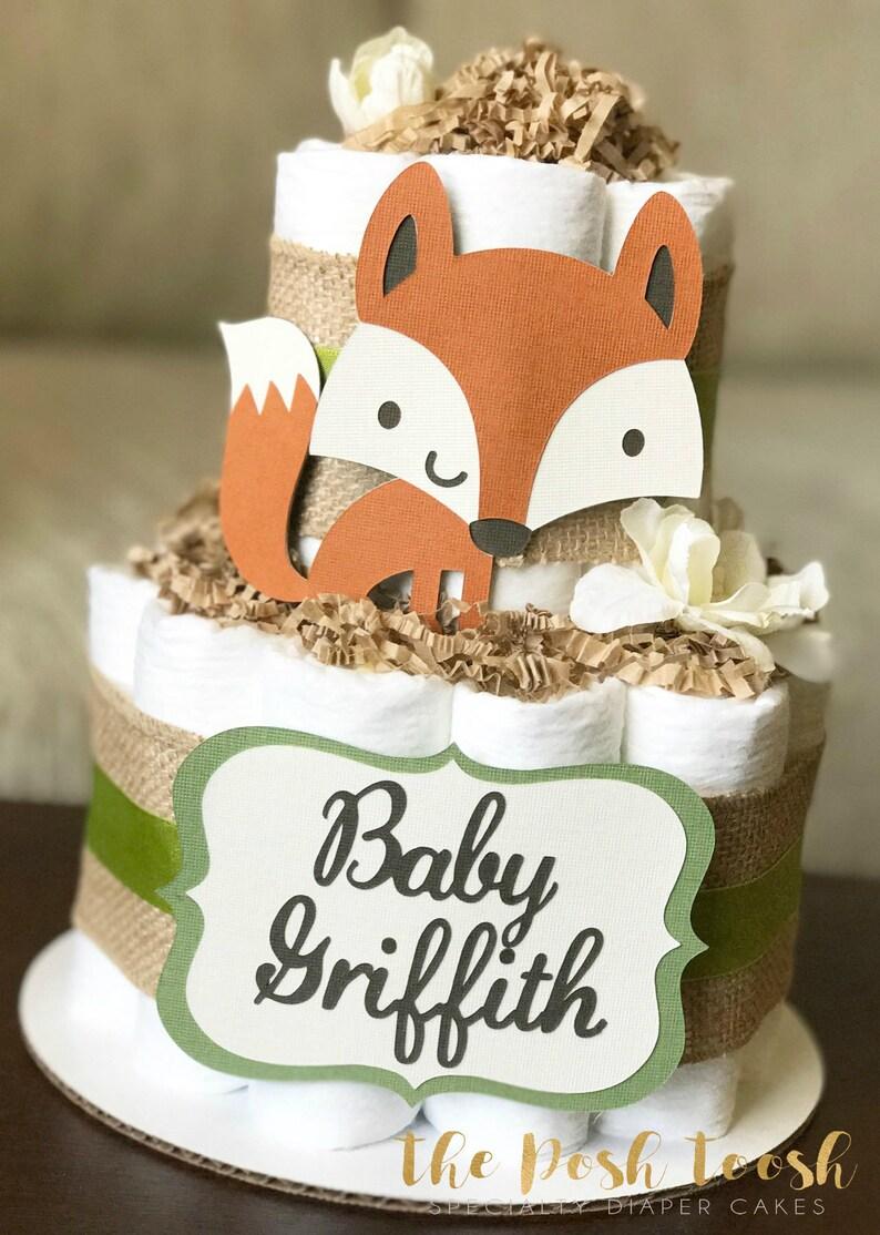 Boy Burlap Green Floral Fox Raccoon Owl Deer,2 tier Baby Shower Centerpiece Gender Neutral Woodland Diaper Cake Baby Shower Decor Gift
