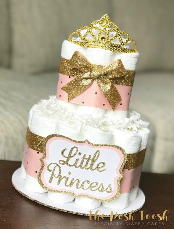 Pink And Gold Diaper Cake Baby Shower Centerpiece Baby Etsy