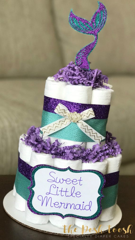 Little Mermaid Diaper Cake Baby Shower Centerpiece Decor Etsy