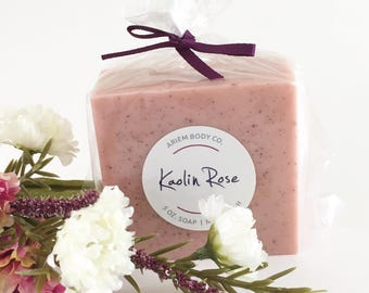 Kaolin Rose Soap -  Luxurious Handmade Soap, Shea Butter, Kaolin Rose Clay - Rose Soap Gift, Pink Floral Soap Gift for Her, Stocking Stuffer