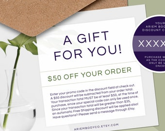 50 Dollar Gift Card, Ariem Body Co Gift Card, Soap Gift Card, Custom Gift, Gift for Coworker, Gift for Her, Gift for Him