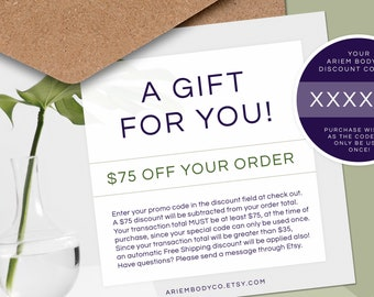 75 Dollar Gift Card, Ariem Body Co Gift Card, Soap Gift Card, Custom Gift, Gift for Coworker, Gift for Her, Gift for Him